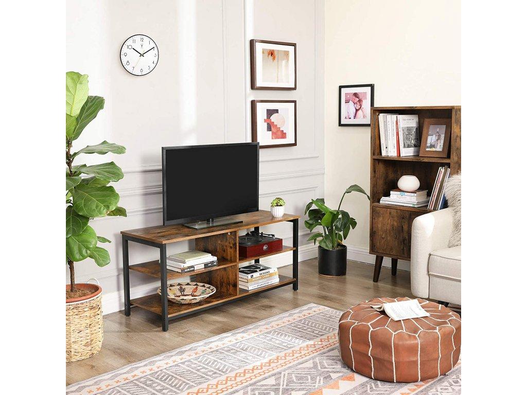 televízny stolík hnedý industriálny dizajn