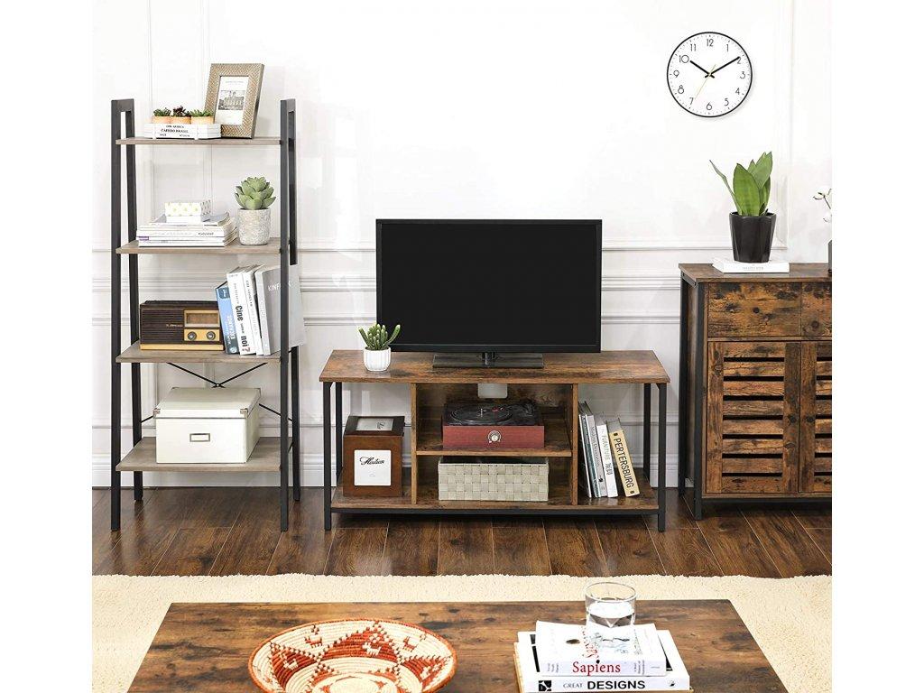 televízny stolík hnedý industriálny dizajn 110 cm