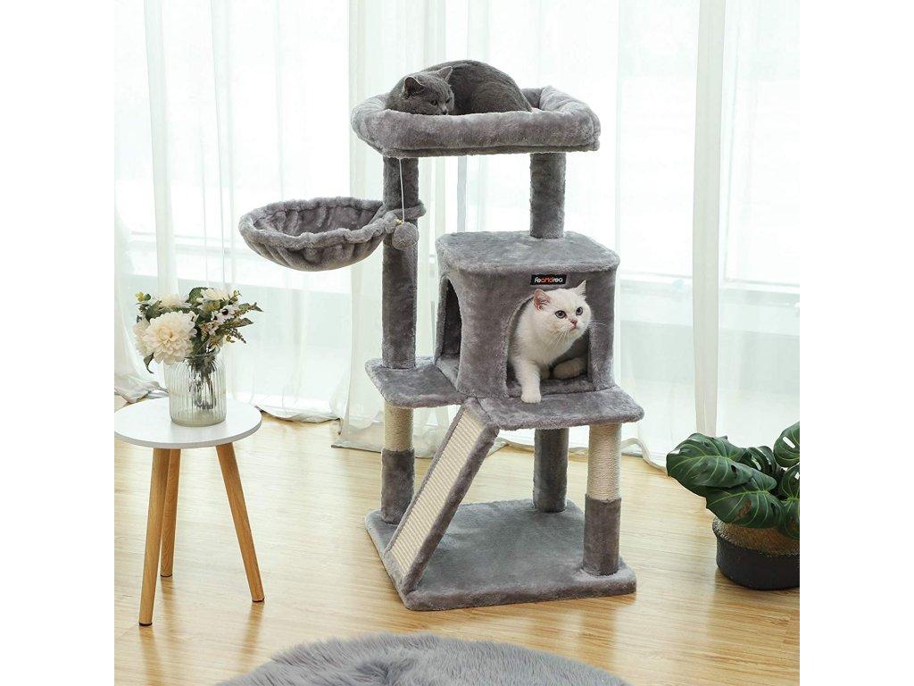 škrabadlo pre mačky 4 poschodia svetlo šedej