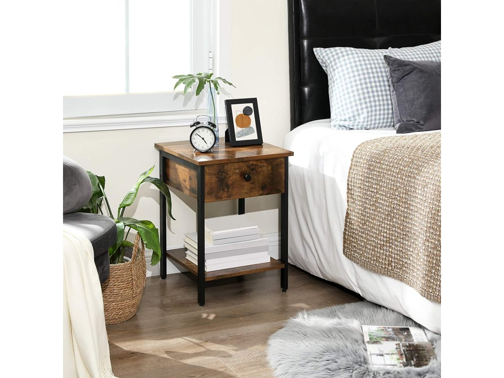 Nočný stolík so zásuvkou hnedý
