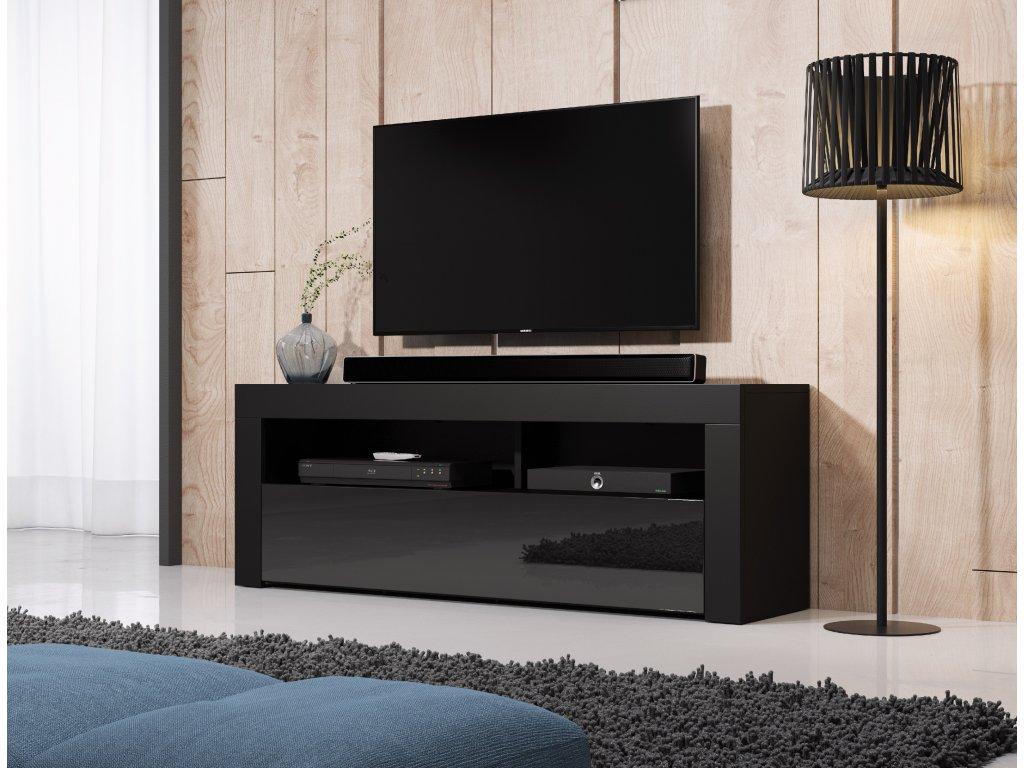 TV stolík Mex 140, 2K, čierny lesk