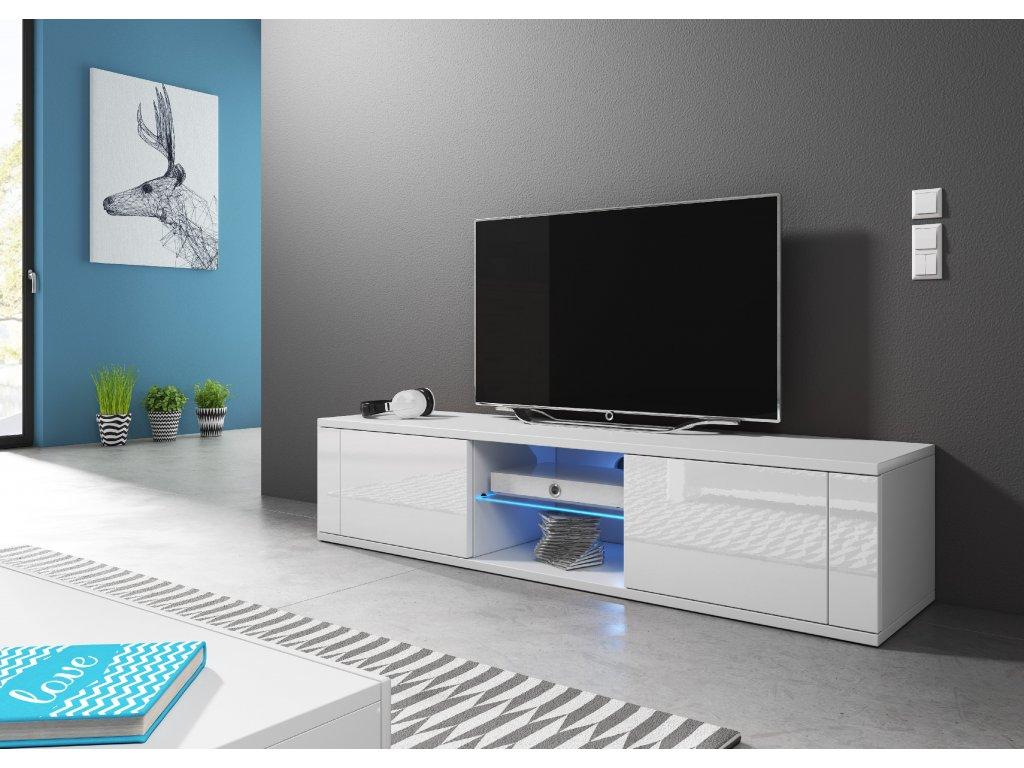 VIVALDI TV stolík HIT, s LED osvetlením, biely