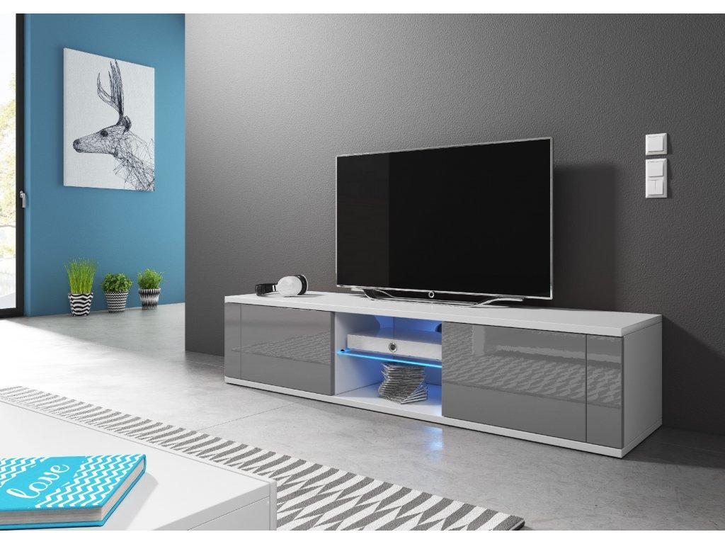 VIVALDI TV stolík HIT, s LED osvetlením, biely/sivý