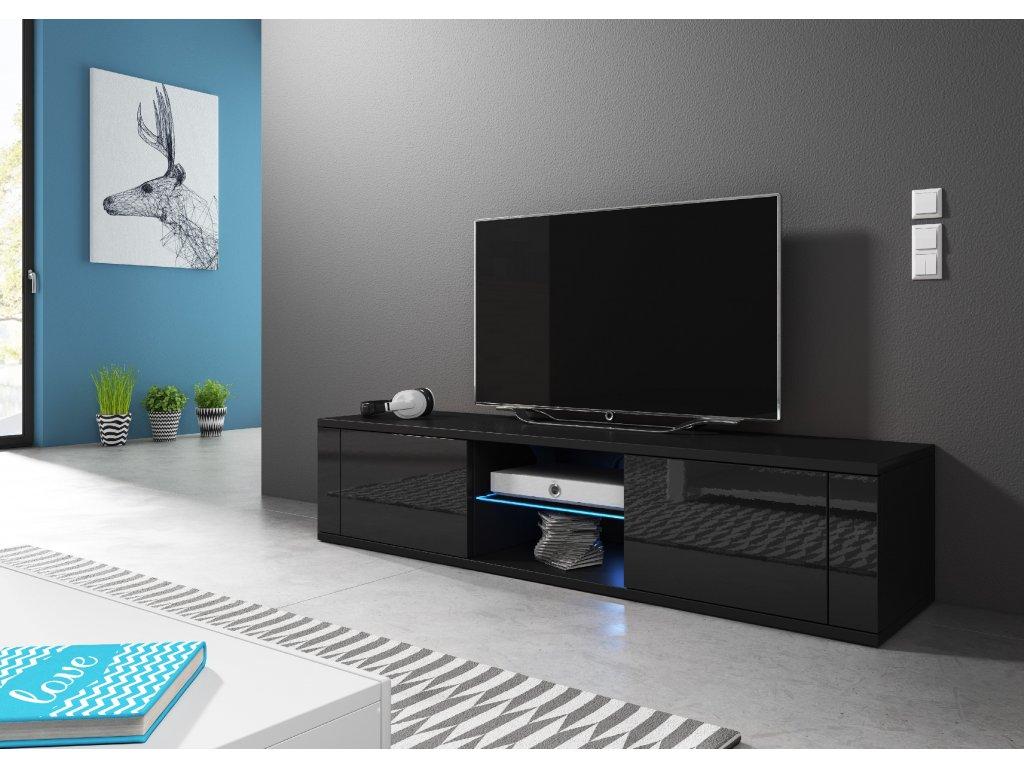 VIVALDI TV stolík HIT, s LED osvetlením, čierny