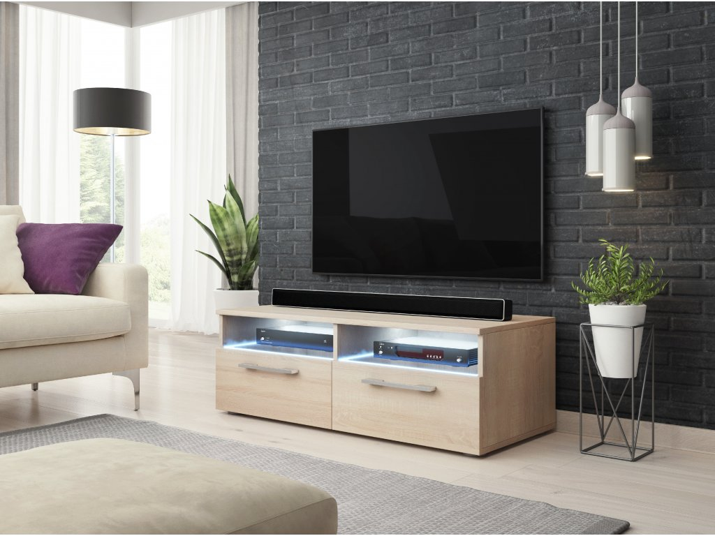TV stolík BONN, dub sonoma s LED osvetlením