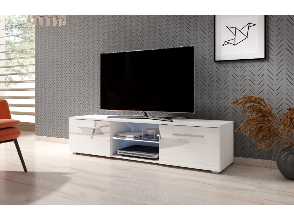 TV stolík MOON 140 biely, s LED osvetlením