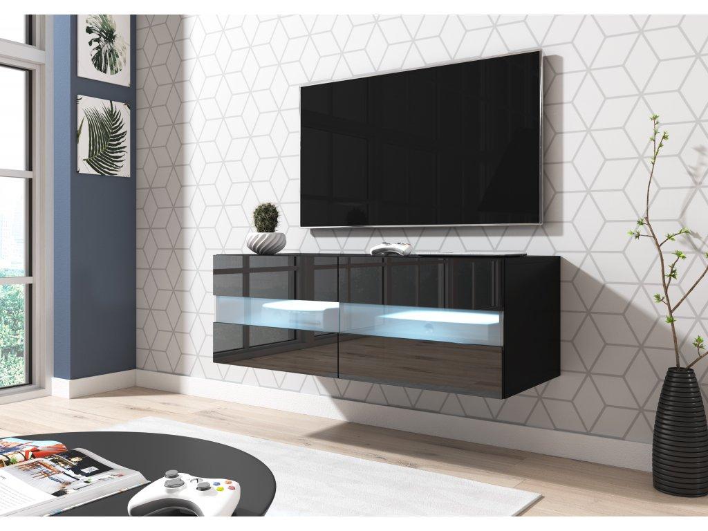 51579 televizni stolek rita cerny 100 cm s led osvetlenim
