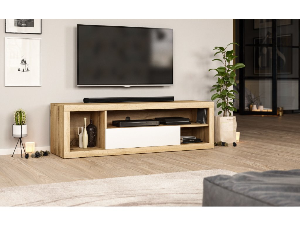 Televizní stolek EVER LE wotan/bilý