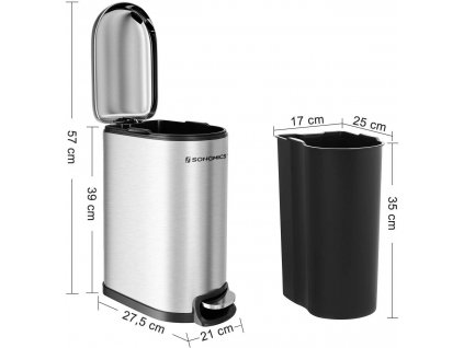 Odpadkový koš s víkem LTB10NL 10 L, stříbrný
