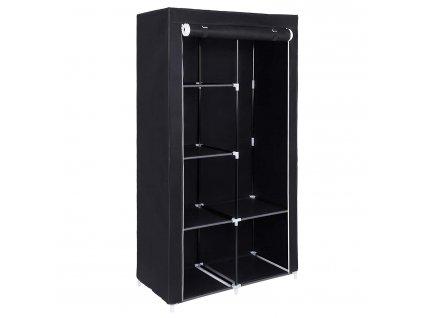 Látková šatní skříň černá 88x170x45 cm1