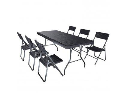 Zahradní stůl umělý ratan šedý