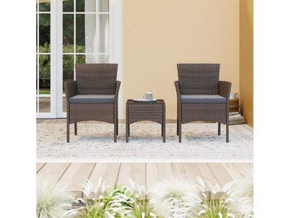 set zahradního nábytku 2+1 umělý ratan hnědý