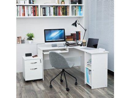 Rohový PC stôl biely