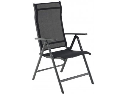 Záhradná stolička skladacia čierna polohovateľná