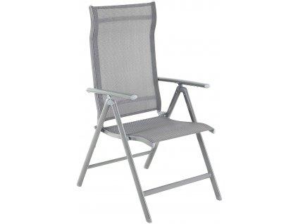 Záhradná stolička skladacia kovová sivá
