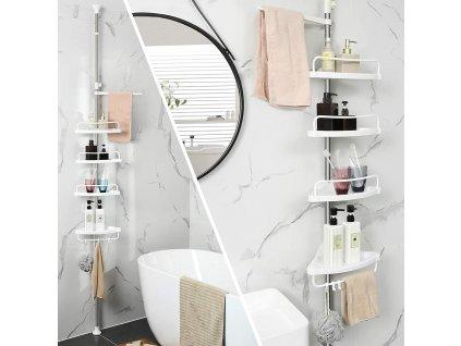 teleskopická polička do kúpeľne biela