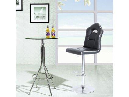 barová stolička chróm čierna