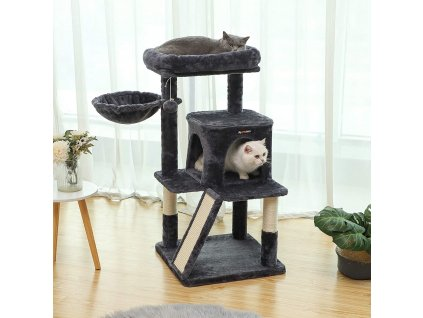 Škrabadlo pre mačky 4 poschodia tmavo šedé