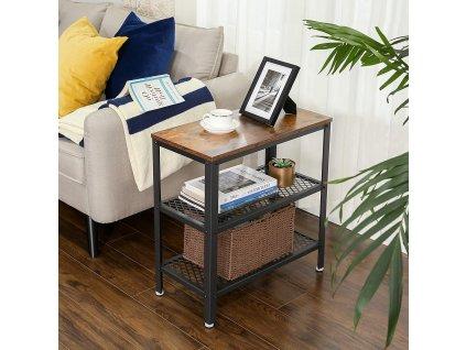 bočné stolík hnedý čierny priemyselný dizajn