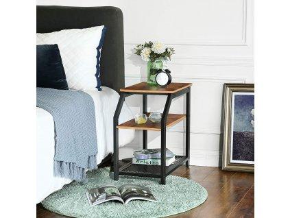 bočné stolík odkladací hnedý čierny priemyselný dizajn