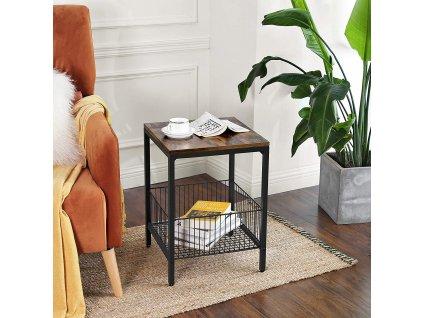 odkladací stolík hnedý čierny kovový priemyselný dizajn