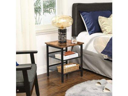nočný stolík industriálny dizajn hnedý čierny