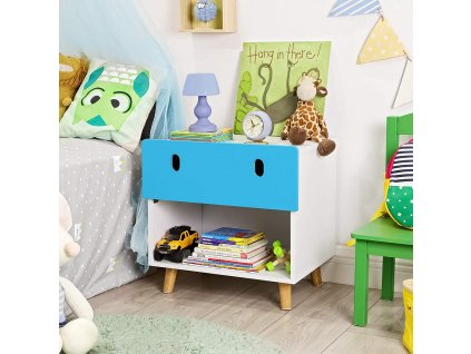 Detský nočný stolík s úložným priestorom modrý