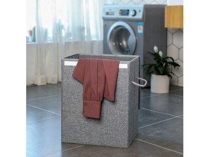 koš na prádlo skládací šedý