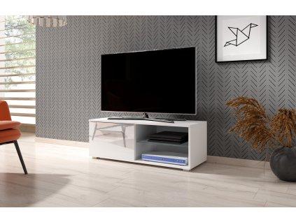 TV stolík MOON 100 biely vo vysokom lesku 2K