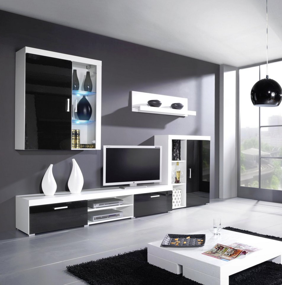 CAMA MEBLE Obývacia stena CAMA SAMBA B Farba: biela/čierna