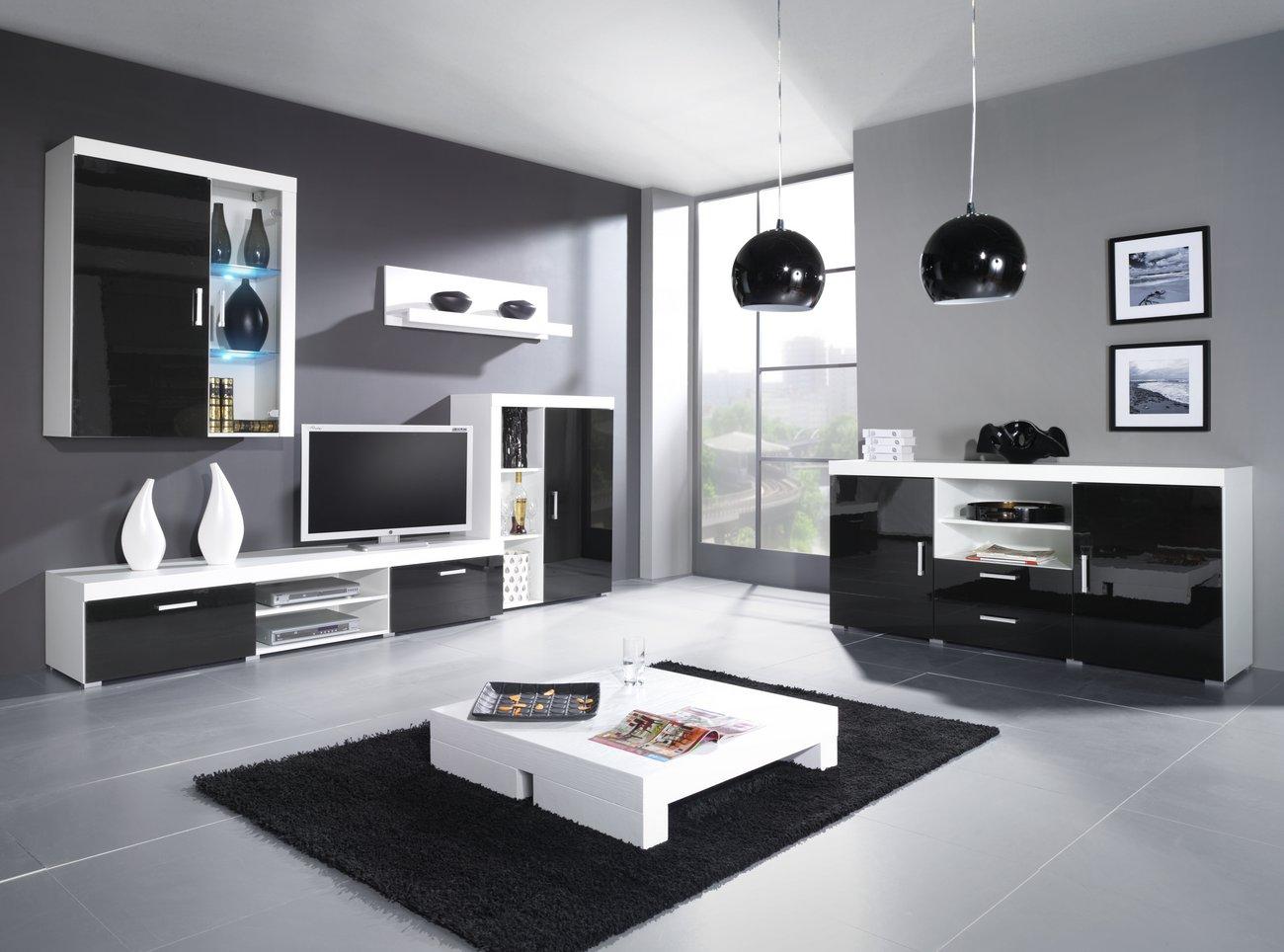 CAMA MEBLE Obývacia stena CAMA SAMBA C Farba: biela/čierna
