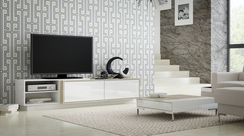 CAMA MEBLE Televízny stolík SIGMA 2 Farba: biela/dub sonoma