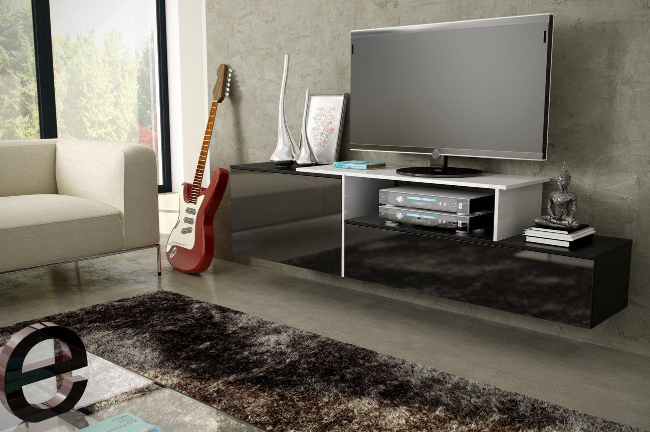 CAMA MEBLE Závesný televízny stolík SIGMA 3 Farba: čierna/biela