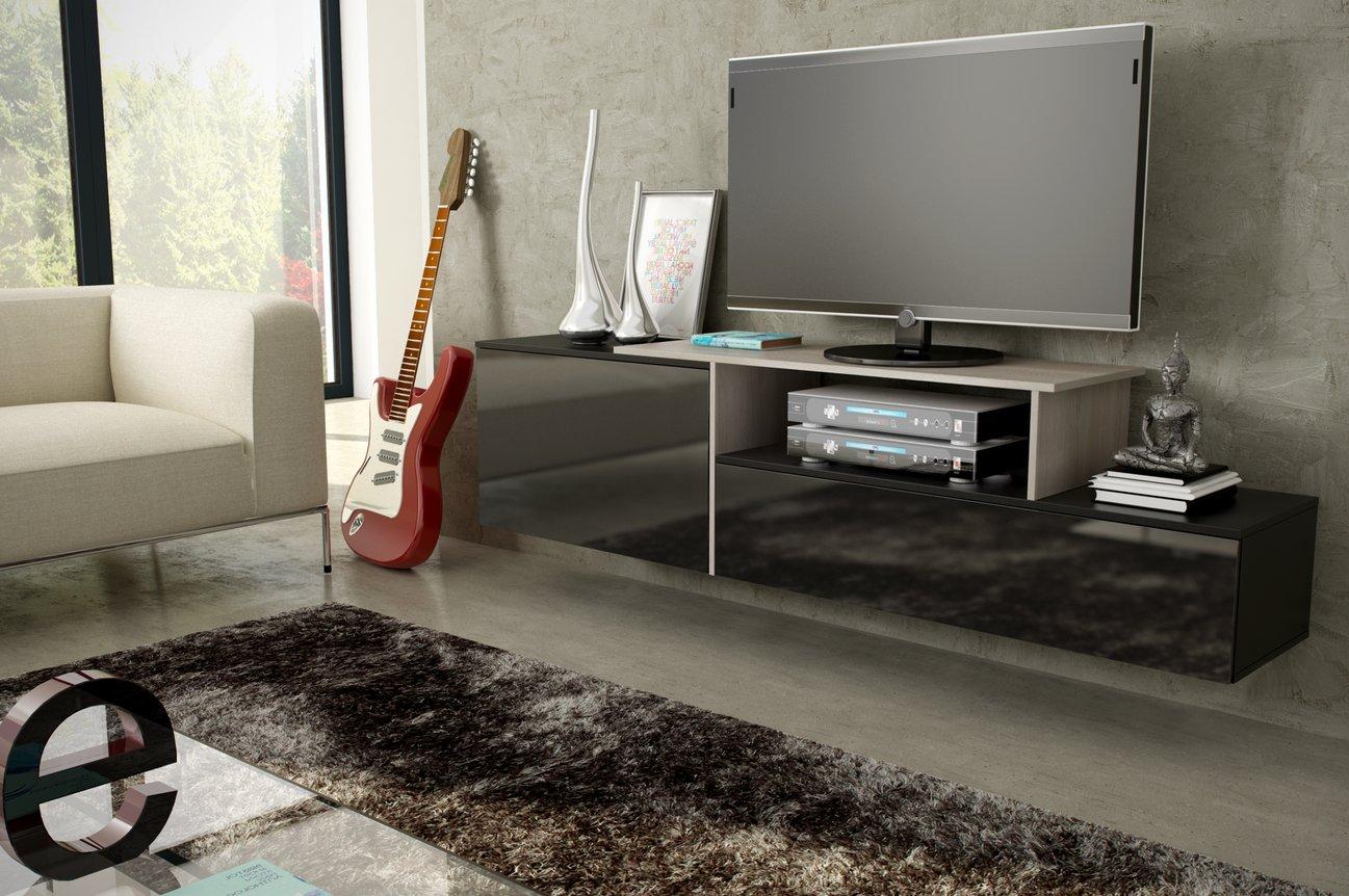 CAMA MEBLE Závesný televízny stolík SIGMA 3 Farba: čierna/dub sonoma