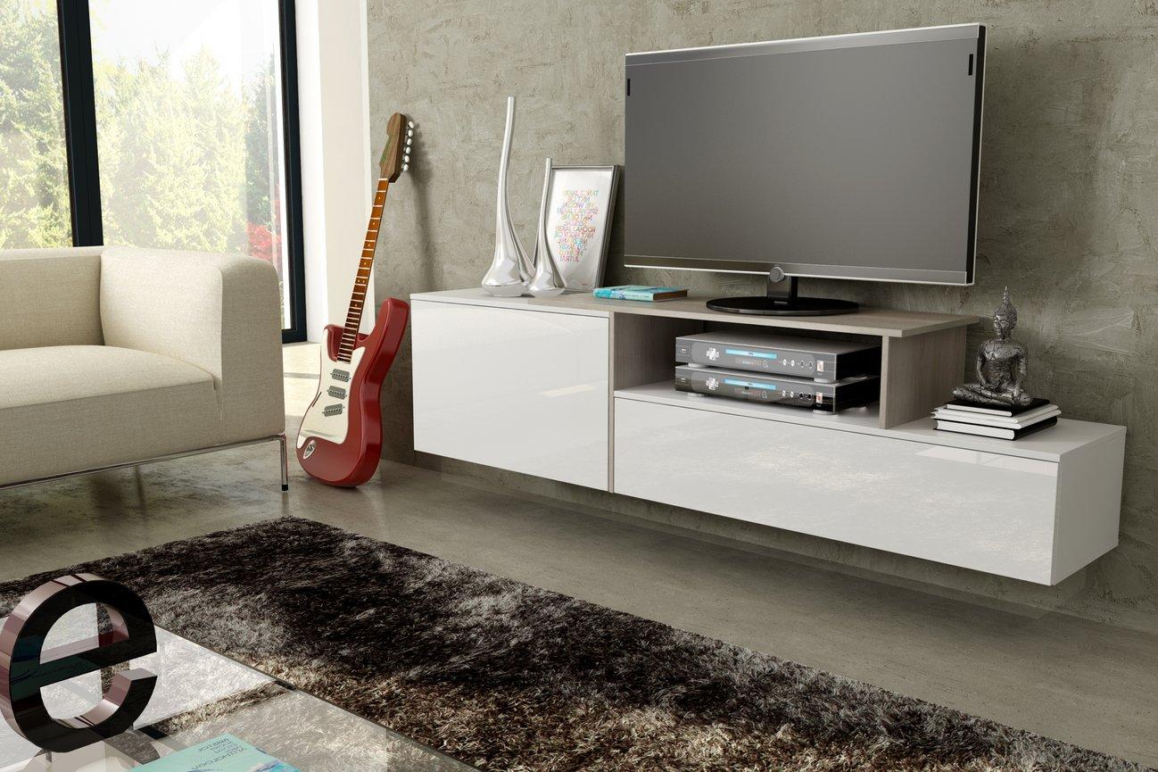 CAMA MEBLE Závesný televízny stolík SIGMA 3 Farba: biela/dub sonoma