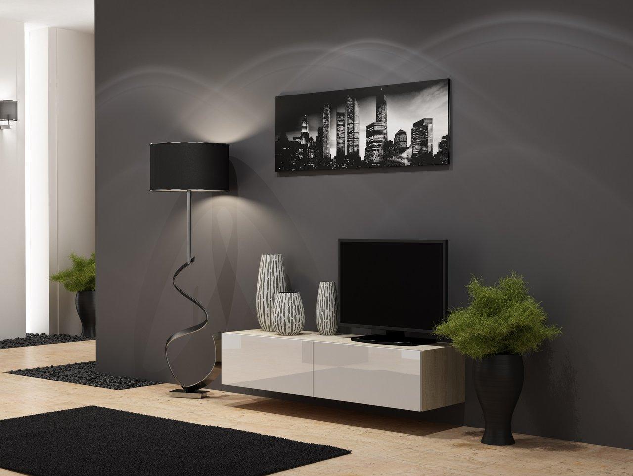 CAMA MEBLE Televízny stolík VIGO 140 Farba: dub sonoma/biela