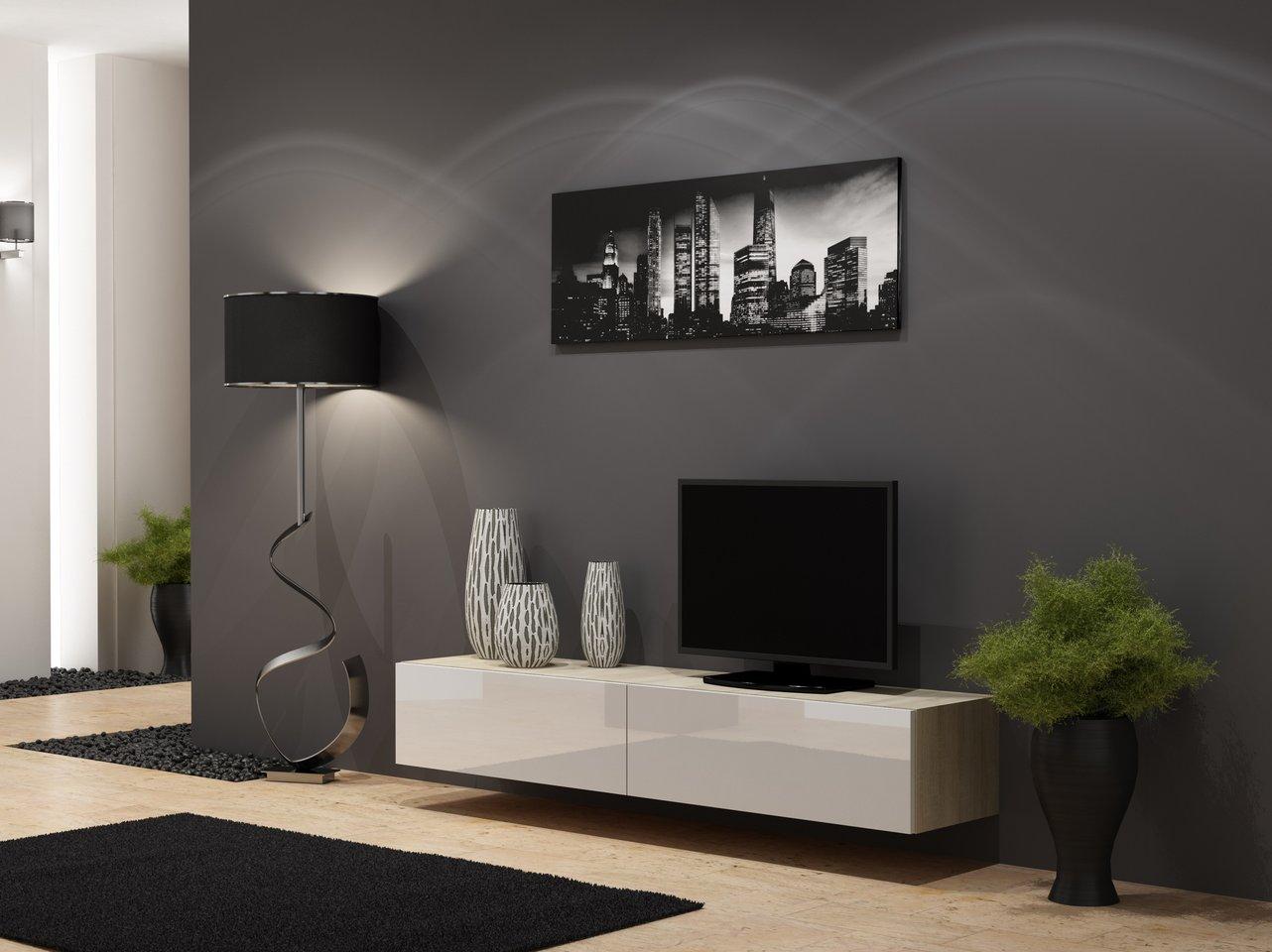 CAMA MEBLE Televízny stolík VIGO 180 Farba: dub sonoma/biela