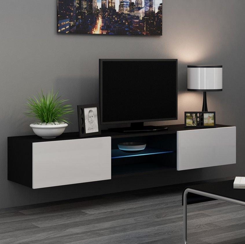 CAMA MEBLE Nástenný TV stolík VIGO 180 GLASS Farba: čierna/biela