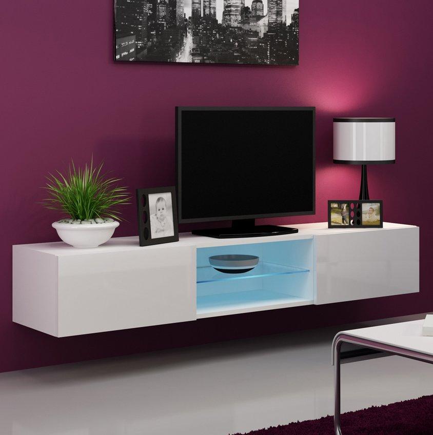 CAMA MEBLE Nástenný TV stolík VIGO 180 GLASS Farba: biela