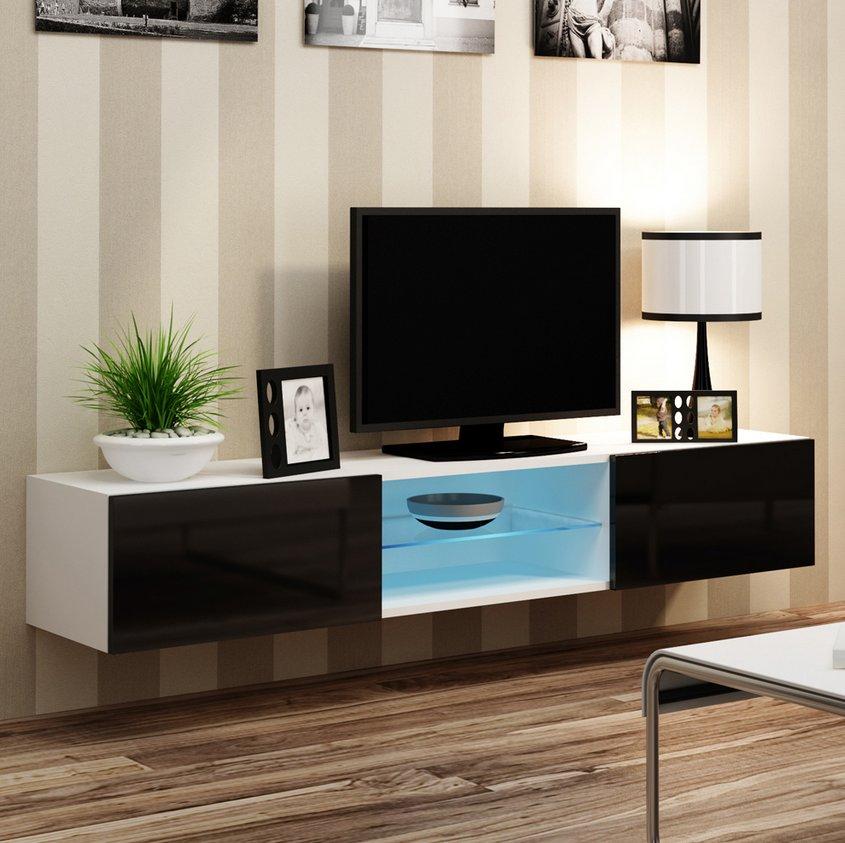 CAMA MEBLE Nástenný TV stolík VIGO 180 GLASS Farba: biela/čierna