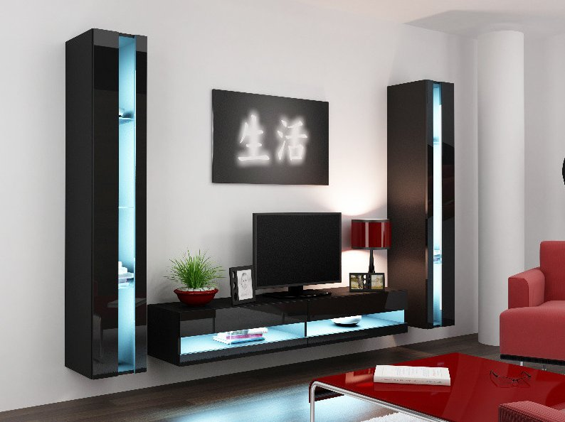 CAMA MEBLE Obývacia stena VIGO NEW 3 Farba: čierna