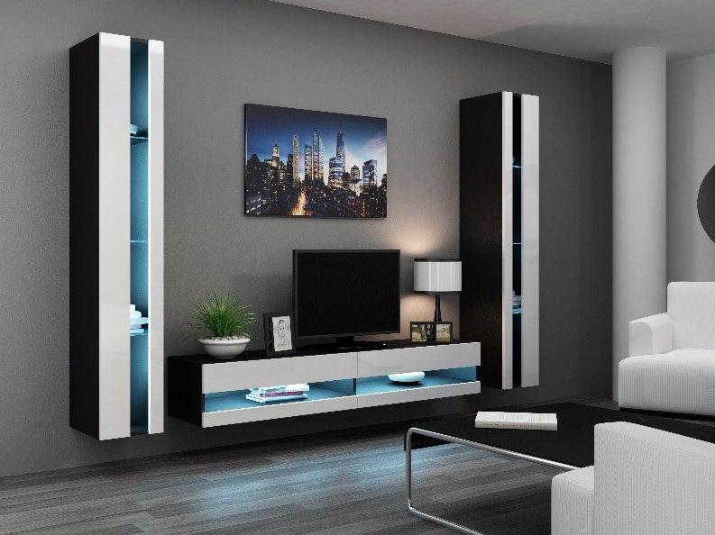 CAMA MEBLE Obývacia stena VIGO NEW 3 Farba: čierna/biela
