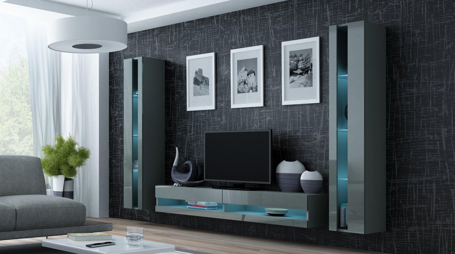 CAMA MEBLE Obývacia stena VIGO NEW 3 Farba: sivá
