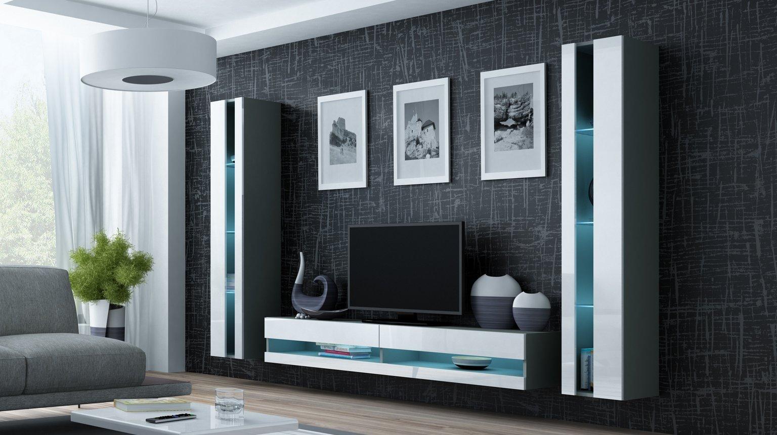 CAMA MEBLE Obývacia stena VIGO NEW 3 Farba: sivá/biela