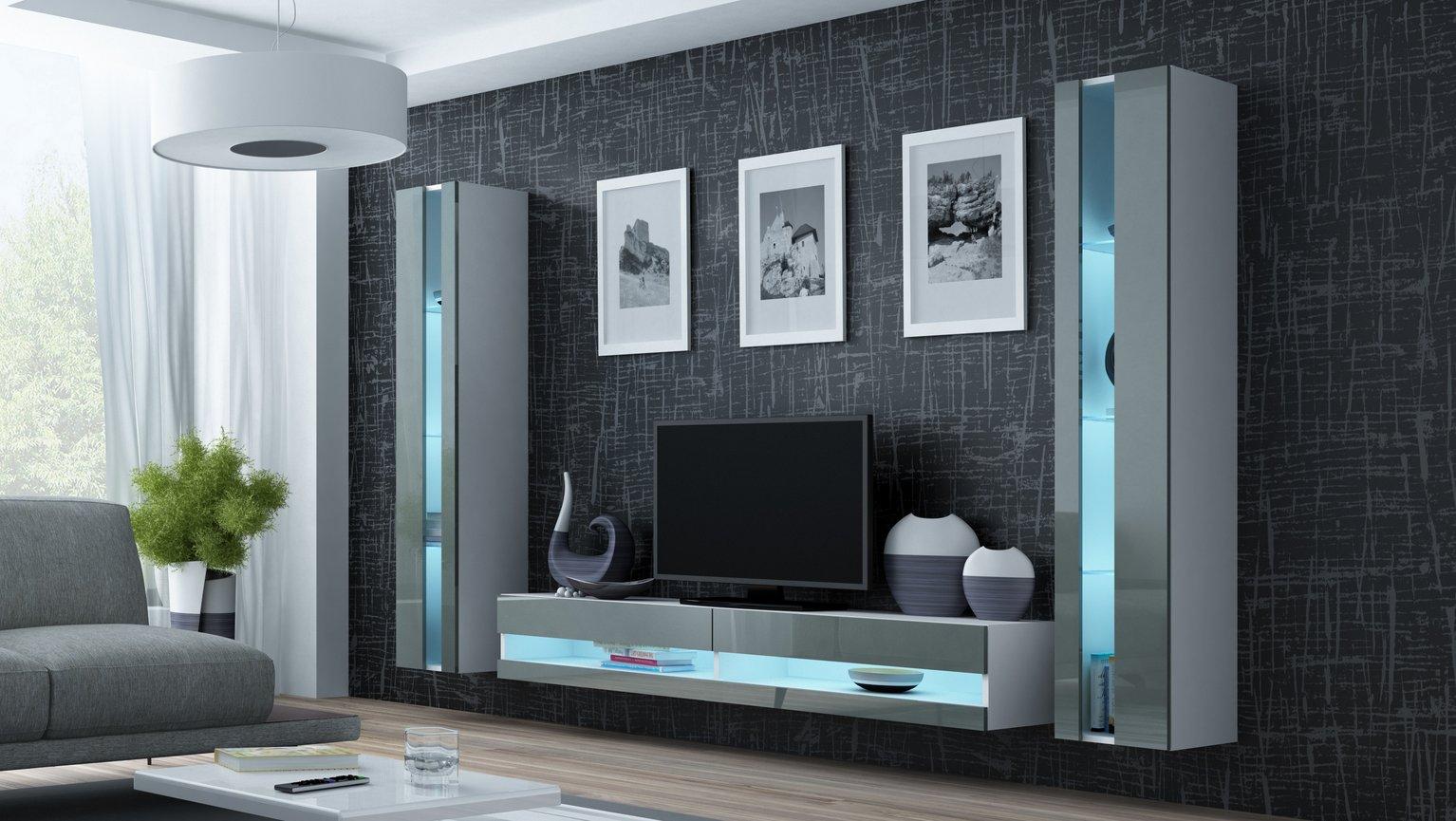 CAMA MEBLE Obývacia stena VIGO NEW 3 Farba: biela/sivá