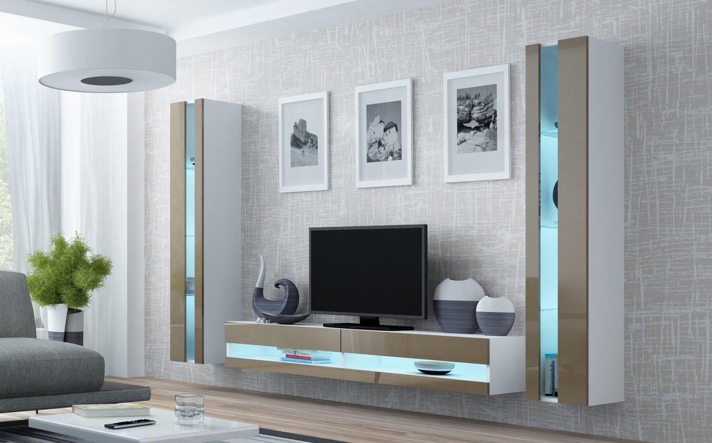 CAMA MEBLE Obývacia stena VIGO NEW 3 Farba: biela/latte