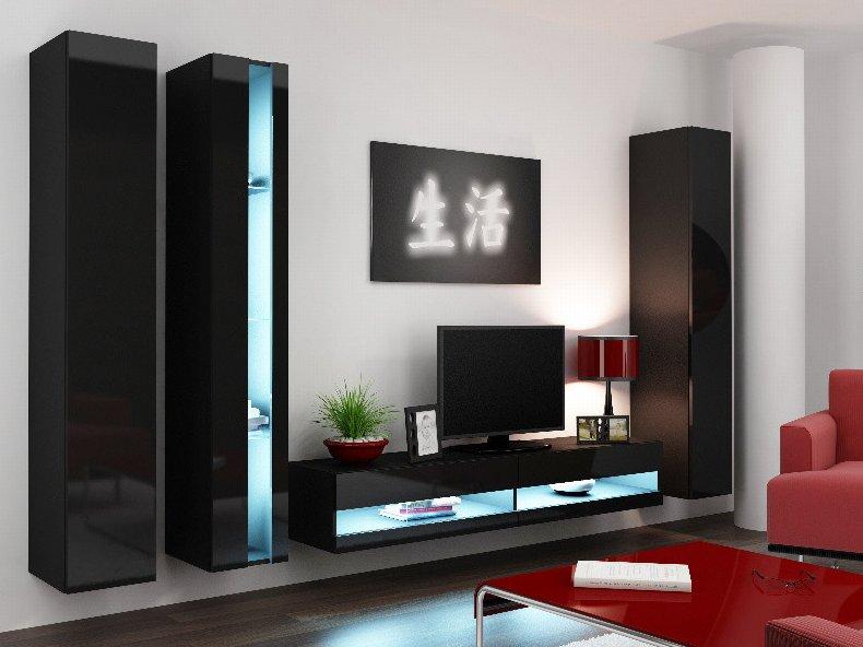 CAMA MEBLE Obývacia stena VIGO NEW 7 Farba: čierna