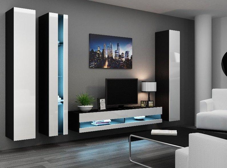 CAMA MEBLE Obývacia stena VIGO NEW 7 Farba: čierna/biela