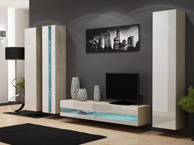 CAMA MEBLE Obývacia stena VIGO NEW 7 Farba: dub sonoma/biela