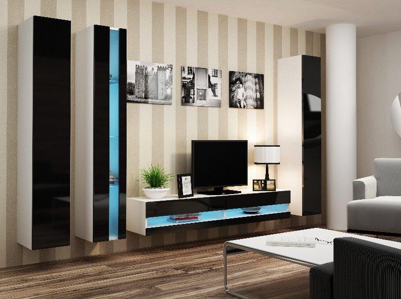CAMA MEBLE Obývacia stena VIGO NEW 7 Farba: biela/čierna